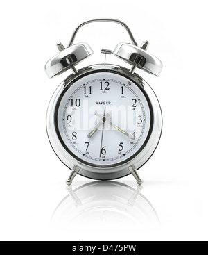 Silver alarm clock cut out on white background - Stock Photo