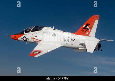 T-45C Goshawk training aircraft conducts a test flight using a biofuel blend of JP-5 jet fuel and plant-based camelina - Stock Photo