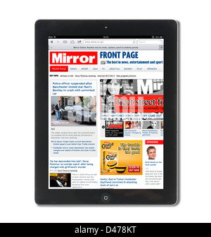 Front page of The Mirror online newspaper viewed on a 4th Generation iPad, UK - Stock Photo