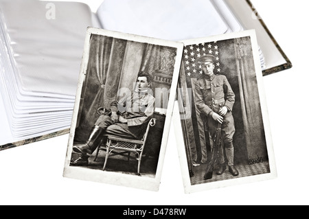 Two old images of a man in uniform with a photo album. - Stock Photo