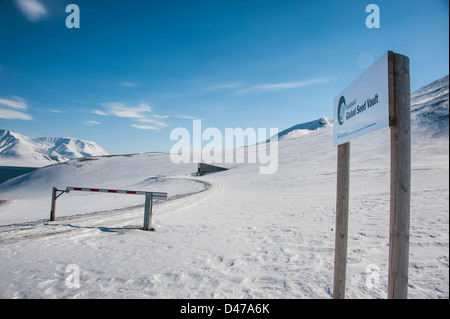 Entrance to the Svalbard Global Seed Vault - Stock Photo