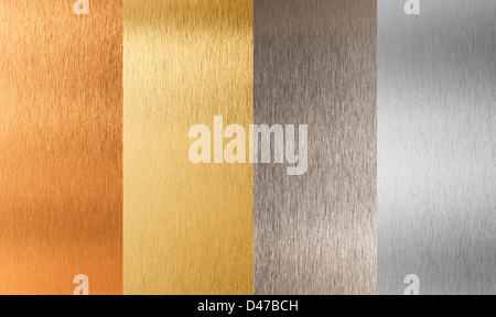 gold silver bronze nonferrous metal set - Stock Photo