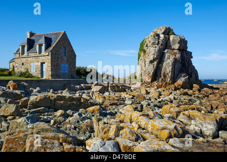 France, Brittany, Cotes d'Armor (22), Plougrescant, house on the coast - Stock Photo