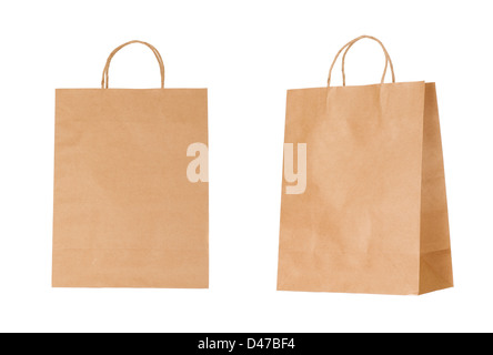 Recyclable paper bags isolated on white background - Stock Photo