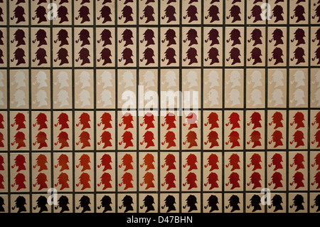 sherlock holmes tiles at baker street london underground station stock photo 17390315 alamy. Black Bedroom Furniture Sets. Home Design Ideas