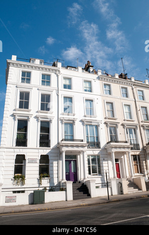 Terraced houses, Ladbroke Grove, Kensington, London, W11, UK - Stock Photo