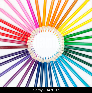 set of color pencils in shape of sun - Stock Photo