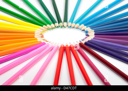 set of color pencils isolated on white - Stock Photo