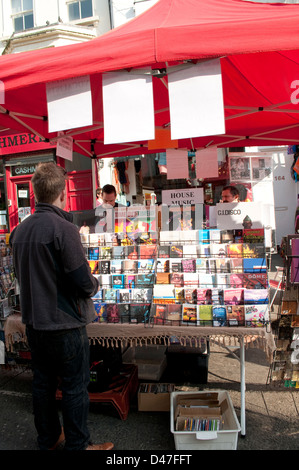 Music CDs stall, Portobello Road market, Notting Hill, London, UK - Stock Photo