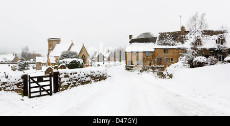 Snowshill Village in winter. The Cotswolds, Gloucestershire, England, UK. - Stock Photo