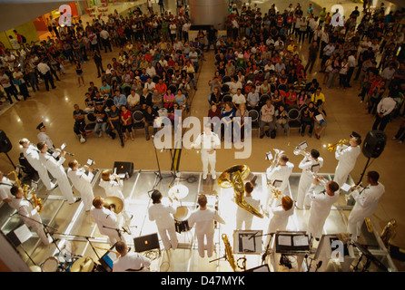 The U.S. 7th Fleet Band, Pacific Ambassadors, performs. - Stock Photo