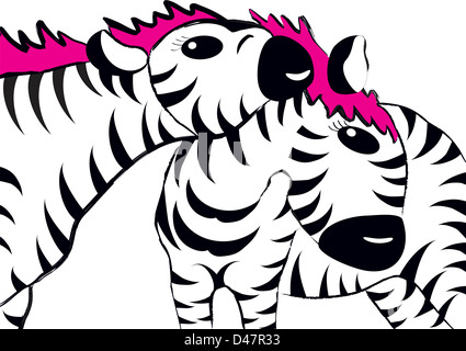 Zebra mother and her young, cartoon drawing - Stock Photo