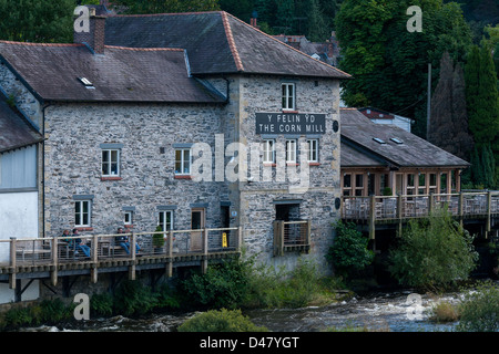 The Corn Mill restaurant on the banks of river Dee in Llangollen in North Wales - Stock Photo