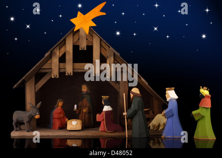 The christmas tale with a nativity scene. - Stock Photo