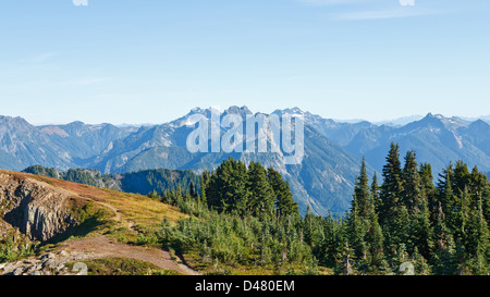 Eastern view of Cascade Mountains on Mount Dickerman in Washington State in the Fall season - Stock Photo