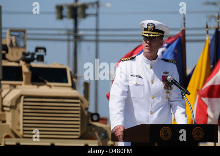 The commodore of the 31st Seabee Readiness Group, delivers his speech. - Stock Photo