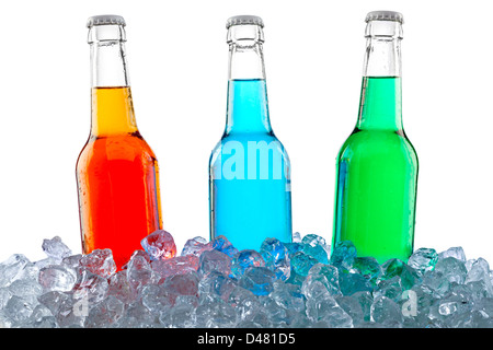 three bottles in crushed ice - Stock Photo