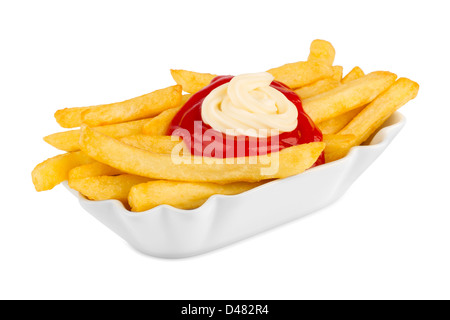 ceramic bowl with french fries, ketchup and mayonnaise. - Stock Photo