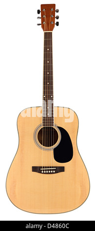 acoustic guitar in front of white background - Stock Photo
