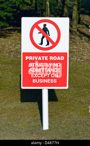 'PRIVATE ROAD STRICTLY NO ADMITTANCE EXCEPT ON BUSINESS', warning sign.Tata Steel, Shapfell limestone works, Shap, - Stock Photo