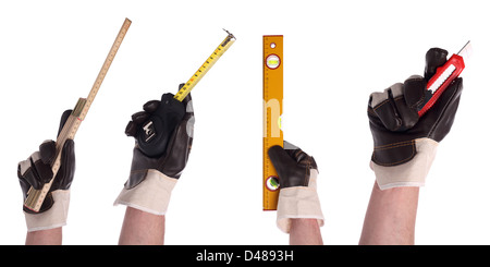 hands with different tools in gloves - Stock Photo
