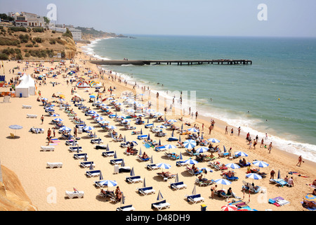 Atlantic coast and beach at Albufeira in Algarve, Portugal - Stock Photo