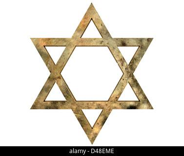 Golden Star of David against white background - Stock Photo