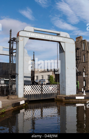 The Leamington Lift Bridge on the Union Canal near Lochrin Basin, Fountainbridge, Edinburgh, UK - Stock Photo