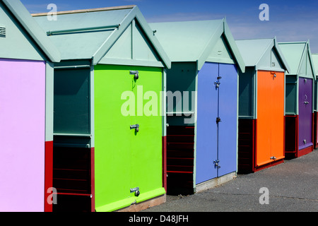 Beach huts on Hove promenade, East Sussex, England - Stock Photo