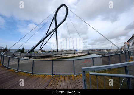 Circular footbridge in Aveiro, Portugal, Europe - Stock Photo