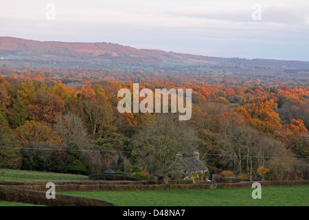 Autumn view over the Wye valley in Herefordshire - Stock Photo