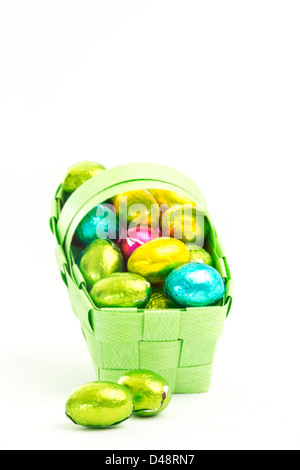 Foil wrapped easter eggs in a basket - Stock Photo