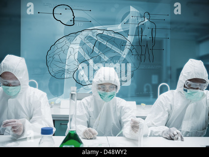 Chemists working in protective suit with futuristic interface showing DNA - Stock Photo