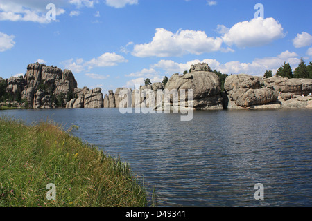 Sylvan Lake, known as the 'crown jewel' of Custer State Park, is located in the Black Hills of South Dakota - Stock Photo