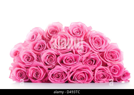 Big bunch of pink roses isolated on white background - Stock Photo
