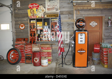 Old gasoline Station, Harley Davidson, Sturgis, South Dakota, United States - Stock Photo