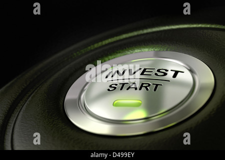 abstract invest start button, metal material, green color and black textured background. Focus on the main word - Stock Photo