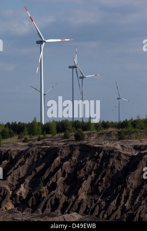 Cottbus, Germany, tailings pond and wind wheels of Vattenfall Europe AG - Stock Photo