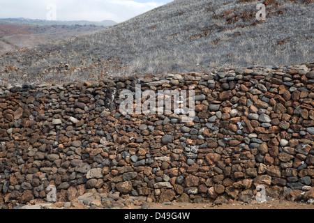 A stone wall, Puukohola Heiau National Historic Site, South Kohala Coast, Big Island,Hawaii, USA - Stock Photo