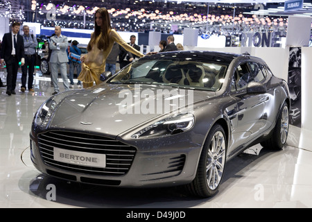 Bertone Jet 2+2 family style Aston martin Rapide. Geneva Motor Show 2013 - Stock Photo