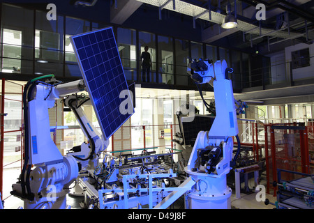 Berlin, Germany, production of solar modules in a warehouse of the company Solon SE - Stock Photo