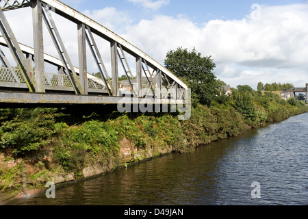 Knutsford Road Swing Bridge on the Manchester Ship Canal from the Mersey Ferry - Stock Photo