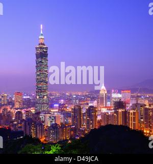 Taipei, Taiwan evening skyline. - Stock Photo