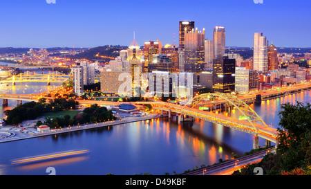 Downtown Pittsburgh, Pennsylvania at dusk. - Stock Photo