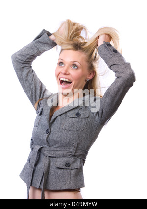 Business woman stressed out isolated on white - Stock Photo