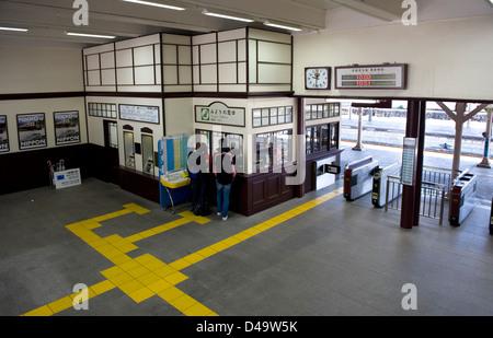 Japan National Railway station in Nikko designed by American architect Frank Lloyd Wright, Tochigi, Japan - Stock Photo