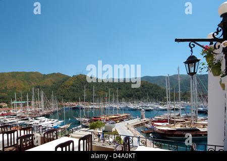 Sailing ships in the harbour, Marmaris, Muğla Province, Turkey - Stock Photo