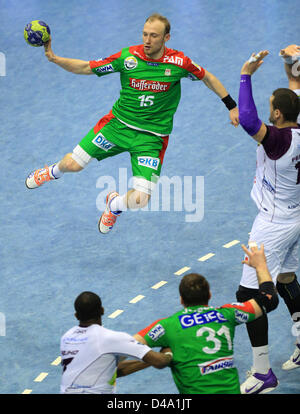 Magdeburg's Yves Grafenhorst controls the ball during the handball EHF Cup match between  SC Magdeburg and HBC Nantes - Stock Photo