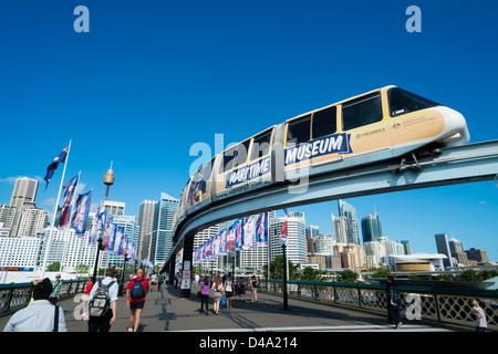 Monorail train  in Darling Bay Sydney Australia - Stock Photo