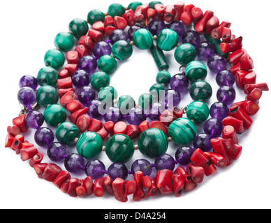 colorful natural necklaces isolated - Stock Photo